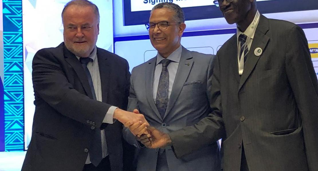 Abderrahil El Hafidi, President of the AfWA, Loïc Fauchon, President of the World Water Council and Abdoulaye Séne, Executive Secretary of the 9th World Water Forum